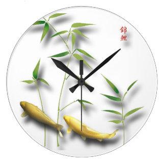 Nishikigoi wall watches large clock