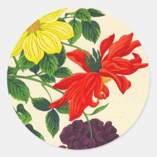 Nishimura Hodo Dahlias oriental japanese flowers Classic Round Sticker