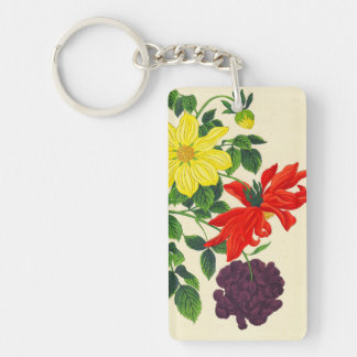 Nishimura Hodo Dahlias oriental japanese flowers Double-Sided Rectangular Acrylic Keychain