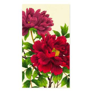 Nishimura Hodo Peony japanese flowers fine art Double-Sided Standard Business Cards (Pack Of 100)