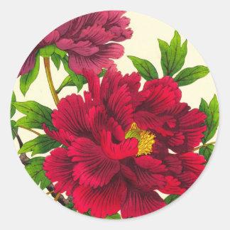 Nishimura Hodo Peony japanese flowers fine art Classic Round Sticker