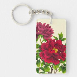 Nishimura Hodo Peony japanese flowers fine art Double-Sided Rectangular Acrylic Keychain
