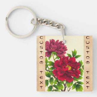 Nishimura Hodo Peony japanese flowers fine art Double-Sided Square Acrylic Keychain