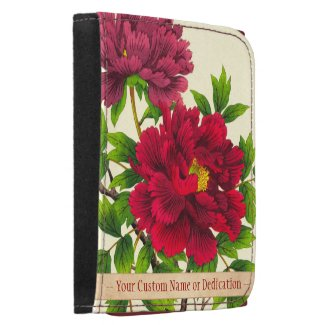 Nishimura Hodo Peony japanese flowers fine art Leather Trifold Wallet