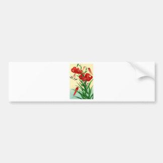 Nishimura Hodo Tiger Lilies Shin Hanga Flowers Bumper Sticker