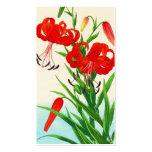 Nishimura Hodo Tiger Lilies shin hanga flowers Double-Sided Standard Business Cards (Pack Of 100)