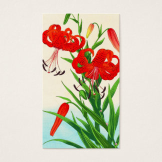 Nishimura Hodo Tiger Lilies shin hanga flowers Business Card