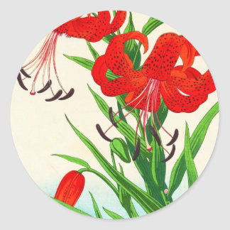 Nishimura Hodo Tiger Lilies shin hanga flowers Classic Round Sticker