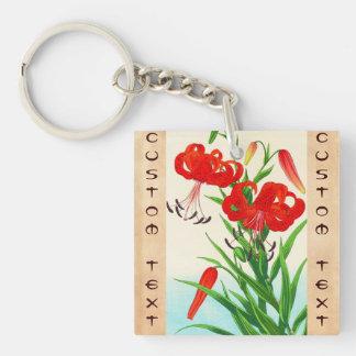 Nishimura Hodo Tiger Lilies shin hanga flowers Double-Sided Square Acrylic Keychain