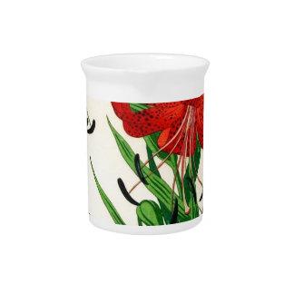 Nishimura Hodo Tiger Lilies Shin Hanga Flowers Drink Pitcher