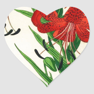 Nishimura Hodo Tiger Lilies Shin Hanga Flowers Heart Sticker