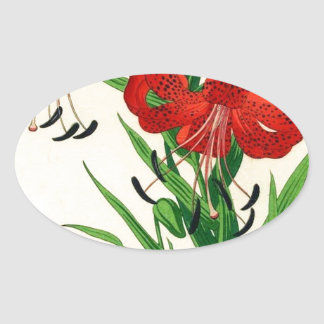 Nishimura Hodo Tiger Lilies Shin Hanga Flowers Oval Sticker
