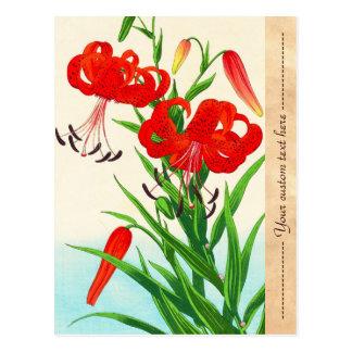 Nishimura Hodo Tiger Lilies shin hanga flowers Postcard