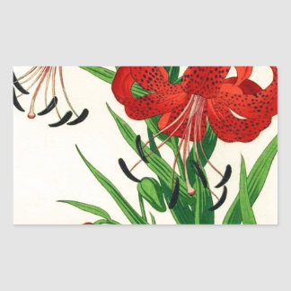 Nishimura Hodo Tiger Lilies Shin Hanga Flowers Rectangular Sticker