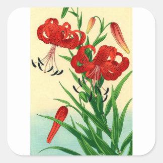 Nishimura Hodo Tiger Lilies Shin Hanga Flowers Square Sticker