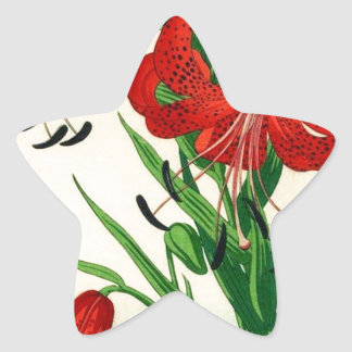 Nishimura Hodo Tiger Lilies Shin Hanga Flowers Star Sticker