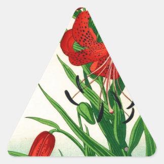 Nishimura Hodo Tiger Lilies Shin Hanga Flowers Triangle Sticker