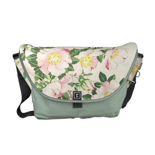 Nishimura Pink Vine Roses Messenger Bag