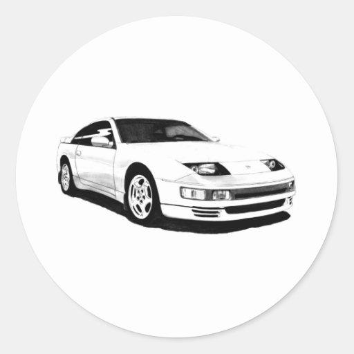 Nissan 300ZX Turbo gemelo Etiquetas Redondas