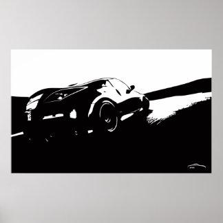 Nissan 350z Drift with Brush Stroke Logo Poster
