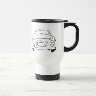 Nissan Figaro Car Line Art - Car Travel Mug