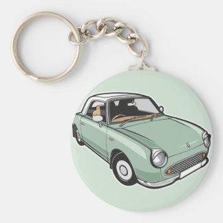 Nissan Figaro Emerald Green Basic Round Button Keychain