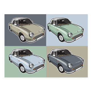 Nissan Figaro in four colors Postcard