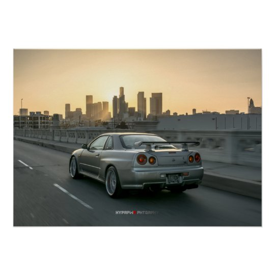 Nice Nissan Skyline GT R R34 In Downtown Los Angeles Poster
