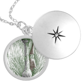 Nisse Behind a Toadstool Round Locket Necklace