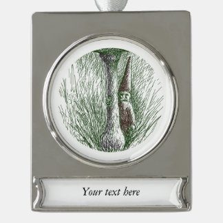 Nisse Elf Behind a Toadstool Silver Plated Banner Ornament