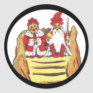 Nisse Gnome King and Queen Classic Round Sticker