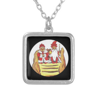 Nisse Gnome King and Queen Square Pendant Necklace