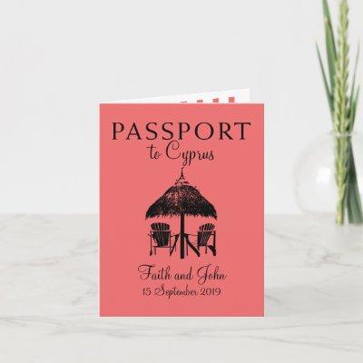 Nissi Beach Cyprus Passport   Wedding Invitation