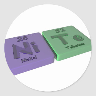 Nite as Ni Nickel and Te Tellurium Classic Round Sticker