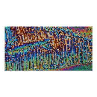 Nitrato del galio debajo del microscopio tarjeta fotográfica
