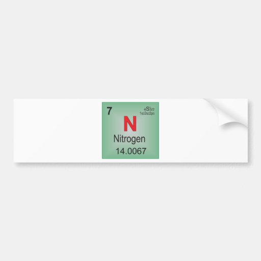 Nitrogen Individual Element of the Periodic Table Car Bumper Sticker