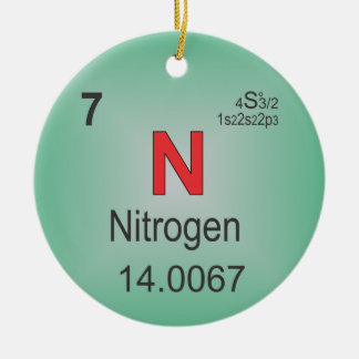 Nitrogen Individual Element of the Periodic Table Ceramic Ornament