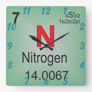 Nitrogen Individual Element of the Periodic Table Square Wall Clock