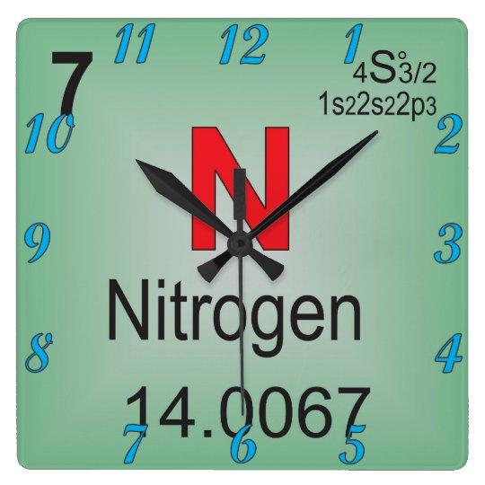 Nitrogen individual element of the periodic table square wall clock nitrogen individual element of the periodic table square wall clock urtaz Gallery