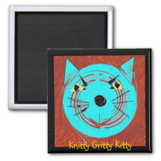 Nittygrittykitty, Knitty Gritty Kitty 2 Inch Square Magnet