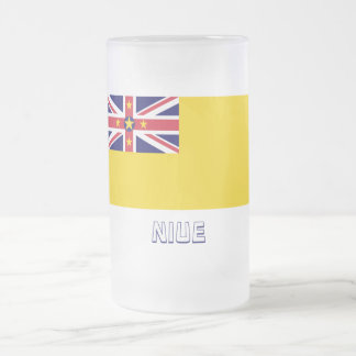 Niue Flag with Name Frosted Glass Beer Mug