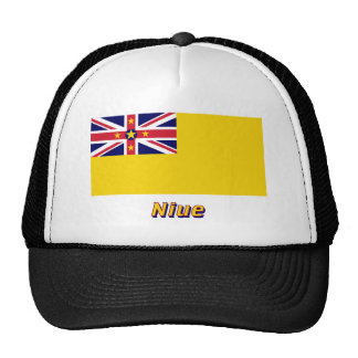 Niue Flag with Name Mesh Hat