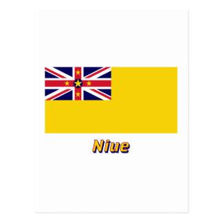 Niue Flag with Name Postcard