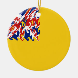 Niue Gnarly Flag Double-Sided Ceramic Round Christmas Ornament
