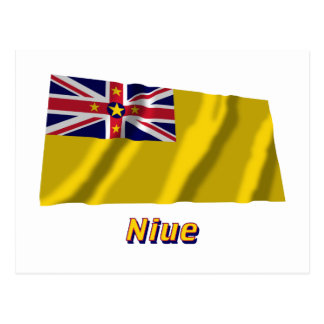 Niue Waving Flag with Name Postcard
