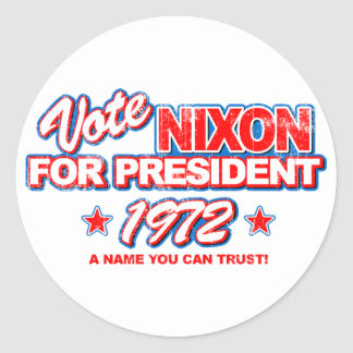 Nixon 1972 Election Classic Round Sticker