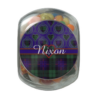 Nixon clan Plaid Scottish kilt tartan Glass Candy Jar
