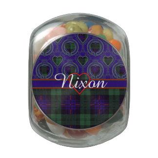 Nixon clan Plaid Scottish kilt tartan Glass Candy Jar