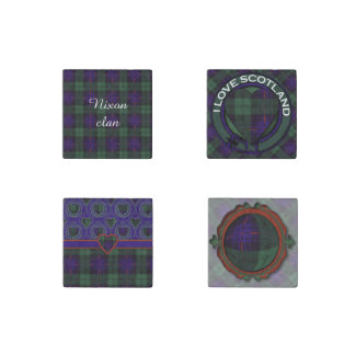 Nixon clan Plaid Scottish kilt tartan Stone Magnet