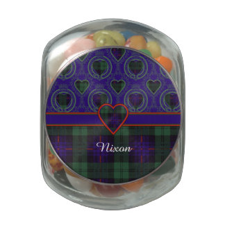 Nixon family clan Plaid Scottish kilt tartan Jelly Belly Candy Jars